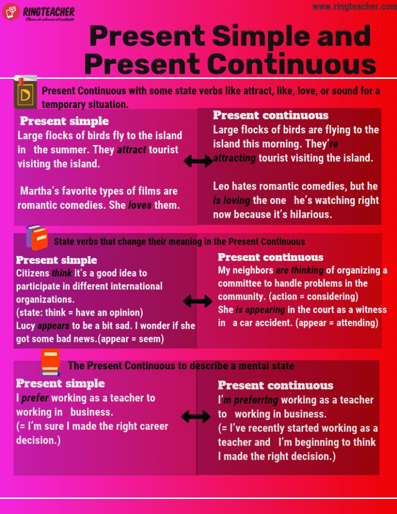 diferencias entre presente simple y presente continuo