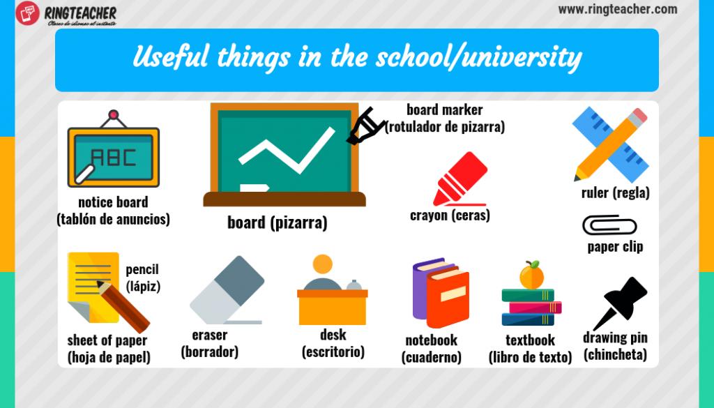 material escuela y educación en inglés