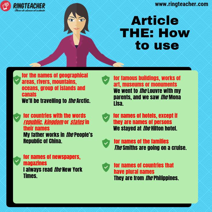Diferentes usos articulo The en inglés