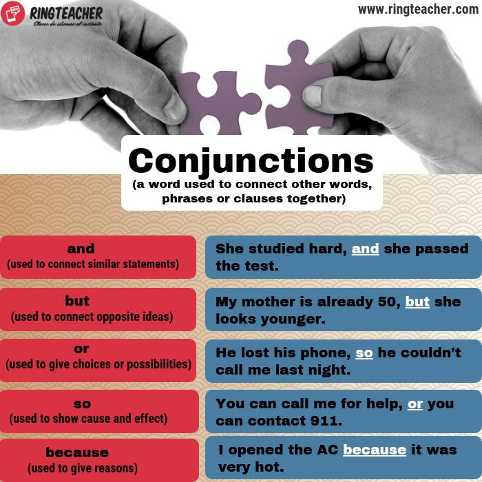 Uso de conjunciones en inglés