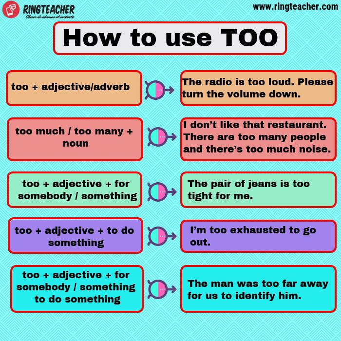 Uso de Too en inglés en una oración