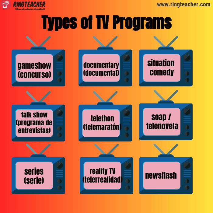 Tipos de programas de televisión en inglés