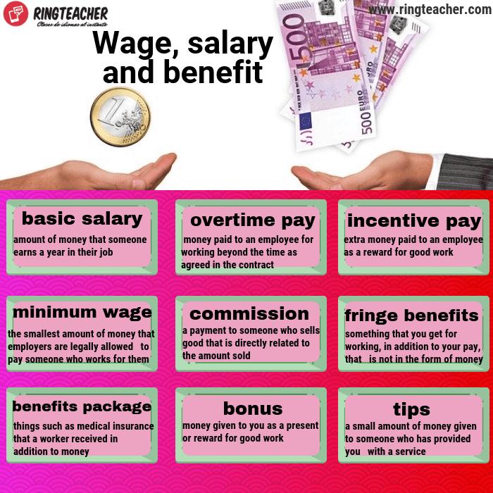 Vocabulario sobre salarios e incentivos en inglés