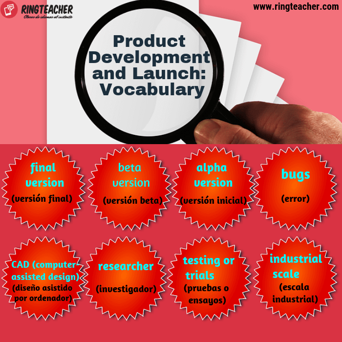 Vocabulario sobre el desarrollo del producto en inglés
