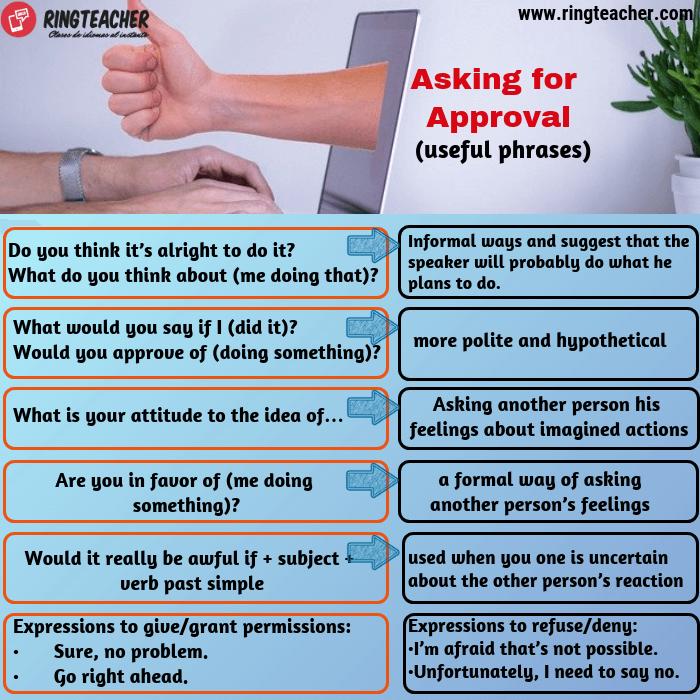 Frases útiles para pedir aprobación en inglés