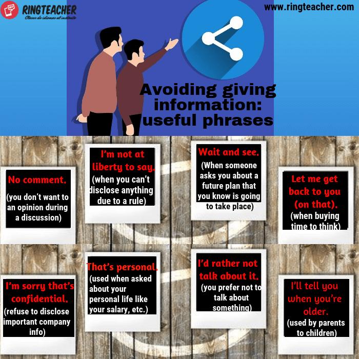 Frases útiles para evitar dar información en inglés