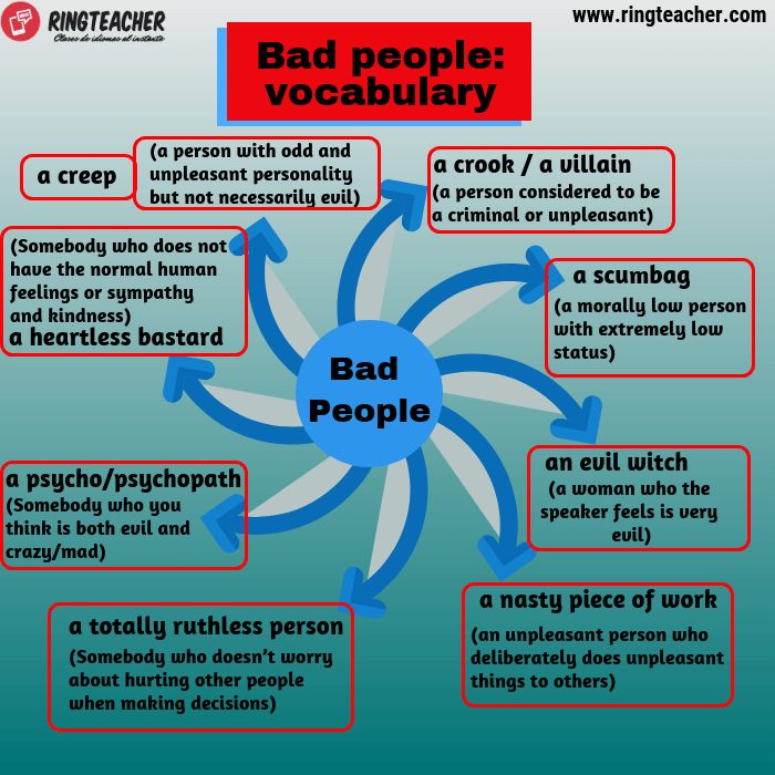 Vocabulario sobre gente mala en inglés