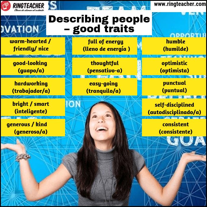 Describir buenas personas en inglés