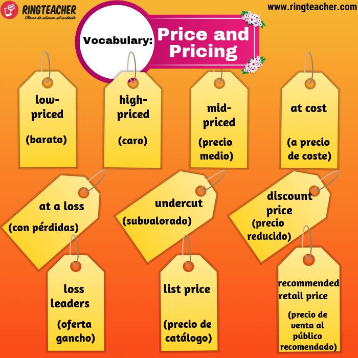 Precio y fijación de precios: vocabulario en inglés