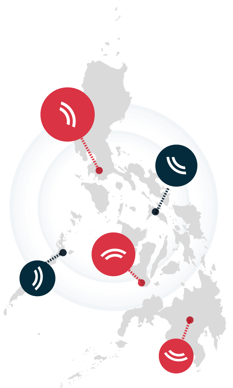 Mapa mostrando distintos bocadillos con el logo de Ringteacher