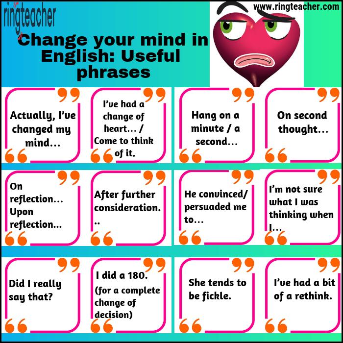 Cambiar de opinión en inglés: Frases útiles