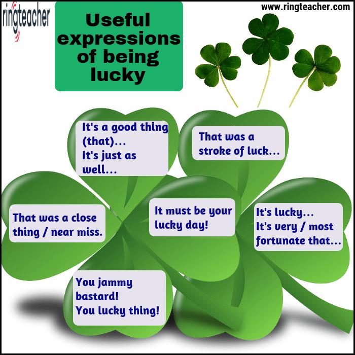 Expresiones útiles de tener suerte en inglés