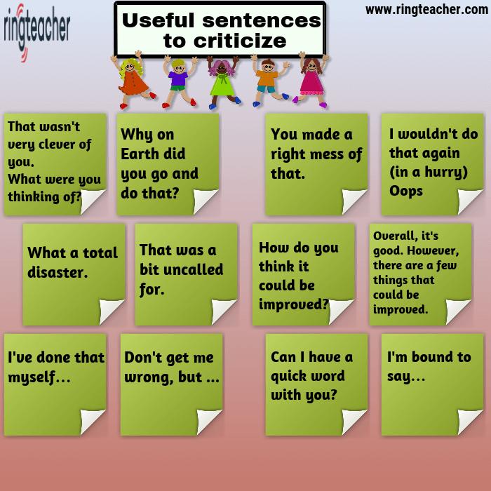 Frases útiles para criticar en inglés