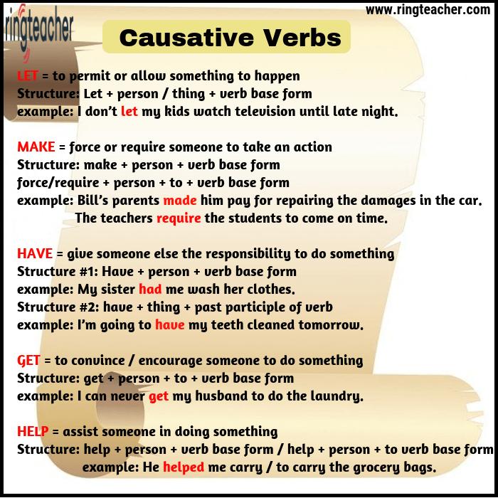 verbos causativos en inglés