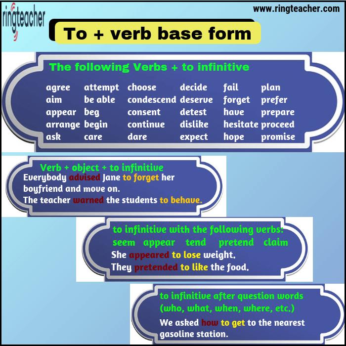 formas verbales seguidas de verbo infinitivo